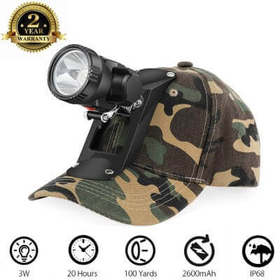GearOZ Red LED Cordless Headlamp with Soft Outdoor Bracket Cap for Night Hunting,Scanning Coons,Coyotes,Foxes,Alligators,Predators' Eyes