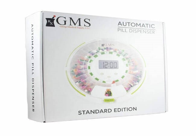 GMS Automatic Pill Dispenser 28 Day Automatic Pill Dispenser with Clear and Solid Lids