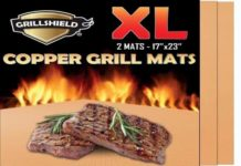 GrillShield Extra Large Copper Grill and Bake Mats Set of 2 - Best Gift - 17 X 23 inches Non Stick Mats for BBQ Grilling