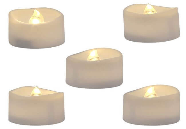Homemory Realistic and Bright Flickering Bulb Battery Operated Flameless LED Tea Light for Seasonal & Festival Celebration