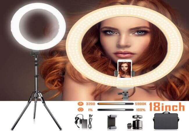 18 Inches Adjustable 3200-5900K Color Temperature Ring Light, SAMTIAN Dimmable SMD LED Ring Light Photography Video Lighting Kit with 78 Inches Light Stand, Phone Holder for YouTube, Portrait, Vlog