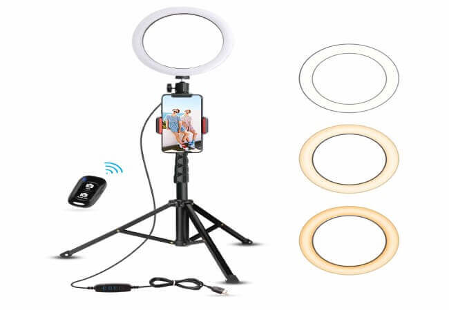 8 Selfie Ring Light with Tripod Stand & Cell Phone Holder for Live Stream Makeup, UBeesize Mini Led Camera Ringlight for YouTube Video Photography Compatible with iPhone Xs Max XR Android