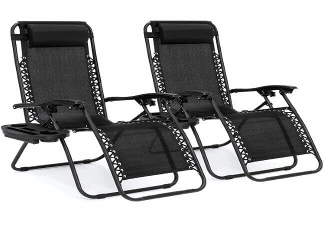Best Choice Products Set of 2 Adjustable Zero Gravity Lounge Chair Recliners for Patio, Pool w Cup Holders - Black