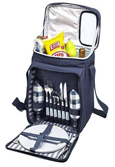 Blue Insulated Picnic Basket - Lunch Tote Cooler Backpack w Flatware Two Place Setting