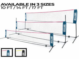 Boulder Portable Badminton Net Set - Net for Tennis, Soccer Tennis, Pickleball, Kids Volleyball - Easy Setup Nylon Sports Net with Poles - for Indoor or...