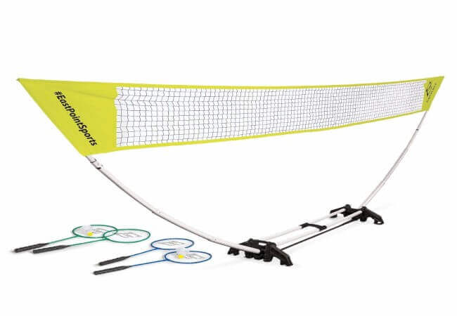 EastPoint Sports Easy Setup Badminton Net Set -5 Feet- Features Carry Storage Built-in Base, Weather Proof Material - Includes Badminton Net, 4 Rackets