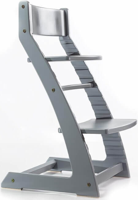 Grey Heartwood Adjustable Wooden High Chair Baby Highchair Solution for Babies and Toddlers Dining Highchair from 24 Months