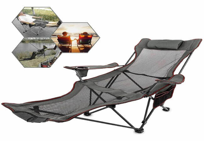 Happybuy Gray Folding Camp Chair with Footrest Mesh Lounge Chair with Cup Holder and Storage Bag Reclining Folding Camp Chair for Camping Fishing