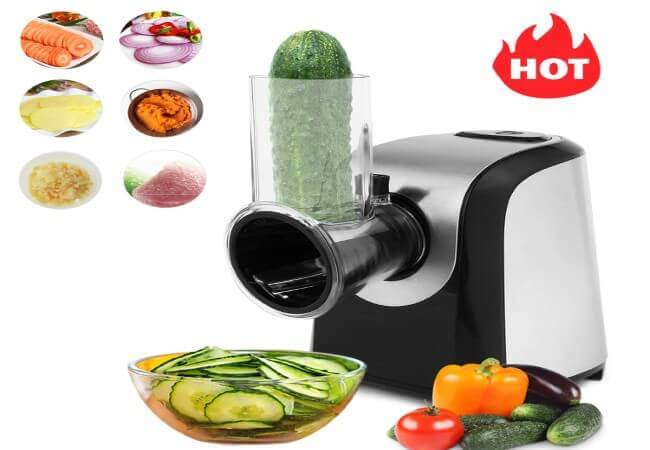 Homdox Professional Salad Maker, Electric Slicer Shredder,Graters with One-Touch Control and 4 Free Attachments for fruits, vegetables, and cheeses
