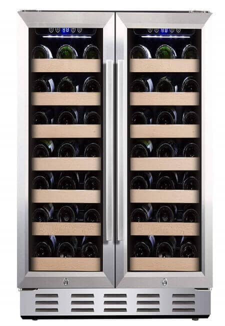 Kalamera 30 Wine Cooler 66 Bottle Dual Zone Built-in and Freestanding with Stainless Steel and Glass French-Door Style