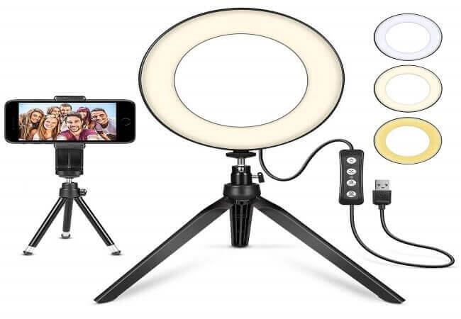 LED Ring Light 6 with Tripod Stand for YouTube Video and Makeup, Mini LED Camera Light with Cell Phone Holder Desktop LED Lamp with 3 Light Modes & 11 Brightness Level (6)