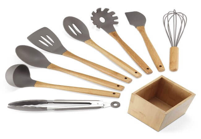 NEXGADGET Premium Silicone Kitchen Utensils 9-Piece Cooking Utensils Set with Bamboo Wood Handles for Nonstick Cookware, Utensils Holder Included