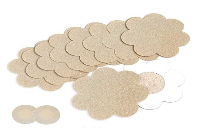 Nipple Breast Covers, Sexy Breast Pasties Adhesive Bra Disposable (10 Flower 1 Round Beige)