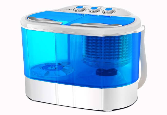 Portable Washing Machine, Spin Dryer-Compact Twin Tub Durable Design 10lbs Mini Washer to Wash All your Laundry for Apartments, Dorms, RV Camping Swim Suit Spinner Dryer, Blue