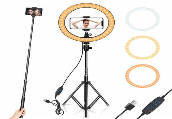Ring Light 10 with Tripod Stand & Phone Holder for YouTube Video, Desktop Camera Led Ring Light for Streaming, Makeup, Selfie Photography Compatible with iPhone Android