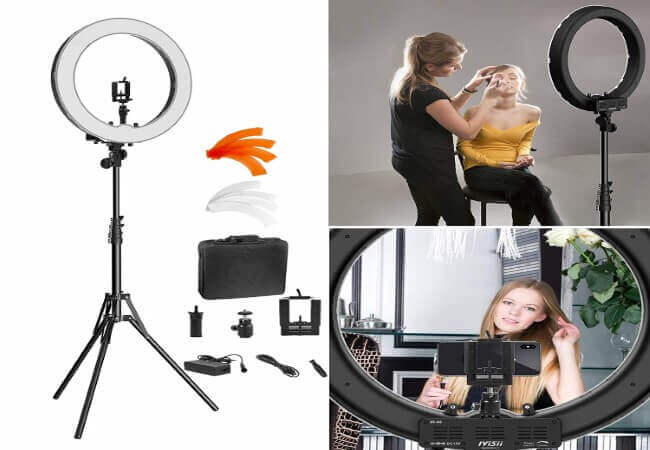 Ring Light Kit 18 48cm Outer 55W 5500K Dimmable LED Ring Light, Light Stand, Carrying Bag for Camera,Smartphone,YouTube,Self-Portrait Shooting