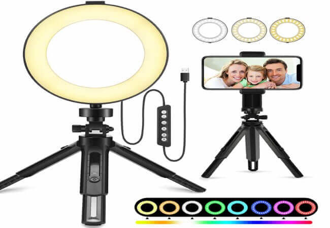 Ring Light Newest, 6 Dimmable RGB O Ring Light with Tripod Stand and Cell Phone Holder for Makeup, YouTube Video, Self-Portrait, Mini Desktop Led Ring Light Selfie Light Ring for Smartphone