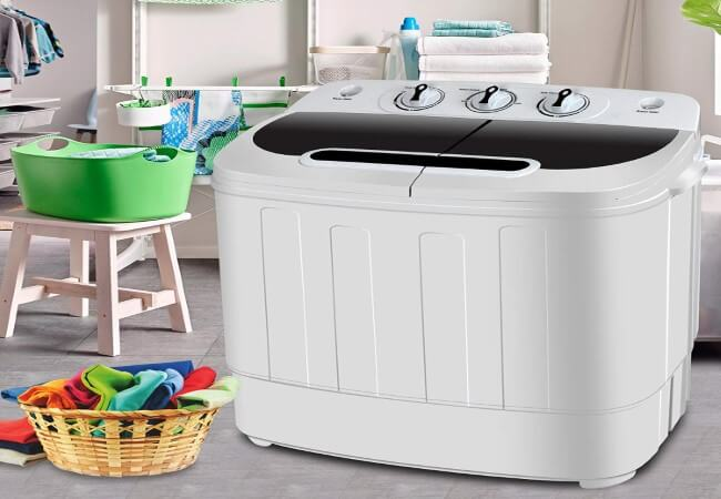 SUPER DEAL Portable Compact Mini Twin Tub Washing Machine Wash and Spin Cycle, Built-in Gravity Drain, 13lbs Capacity For Camping, Apartments, Dorms, College Rooms, RVs, Delicates and more