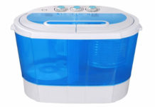 SUPER DEAL Portable Compact Washing Machine, Mini Twin Tub Washing Machine w Washer&Spinner, Gravity Drain Pump and Drain Hose