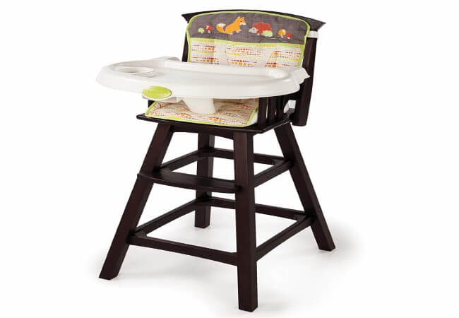 Summer Classic Comfort Wood High Chair, Fox and Friends, Espresso Stain