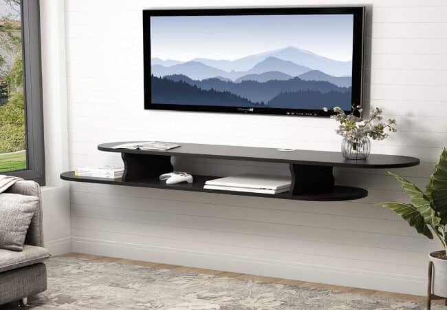 Tribesigns 2 Tier Modern Wall Mounted Media Console Floating TV Shelf TV Stand 59x13x7 inch for Xbox