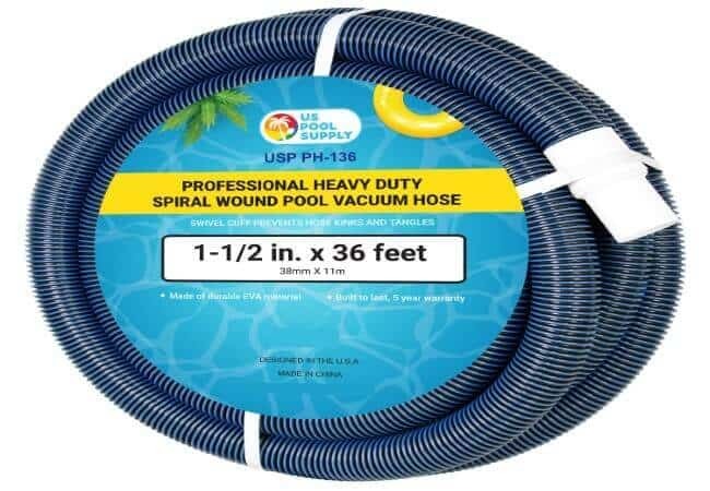 U.S. Pool Supply 1-1 2 x 36 Foot Professional Heavy Duty Spiral Wound Swimming Pool Vacuum Hose with Swivel Cuff