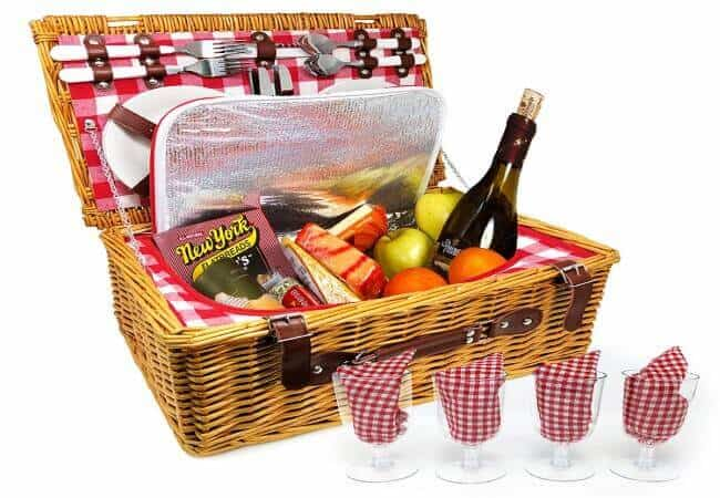 Upgraded 4 Person XL Picnic Basket - Insulated Wicker Hamper - Dishwasher Safe Plates, Wine Glasses, Flatware Set and Napkins