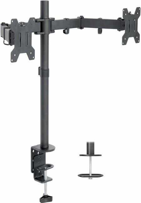 VIVO Dual LCD LED Monitor Desk Mount Stand with C-clamp and Bolt-Through Grommet Options