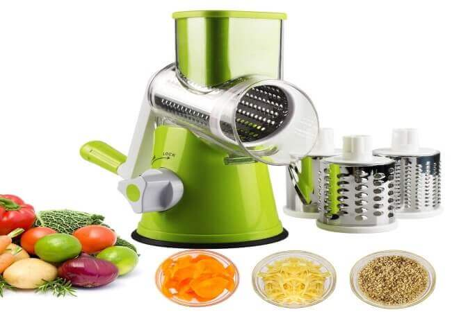 Vegetable Mandoline Slicer, Zacfton Vegetable Fruit Cutter Cheese Shredder Rotary Drum Grater with 3 Stainless Steel Rotary Blades and Suction Cup Feet