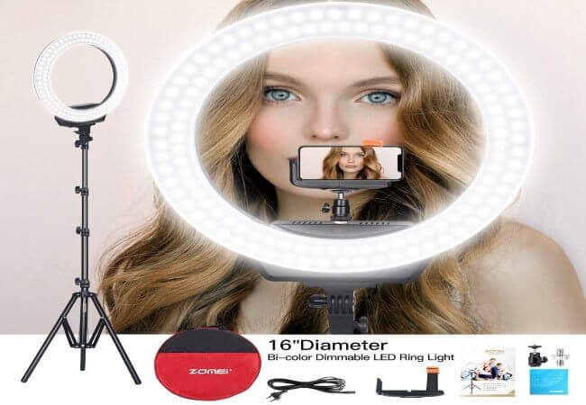 ZOMEi Ring Light 16 Led Ring Light Bi-Color Dimmable Photography Filling Light Continuous Lighting with Tripod and Phone Holder for Selfies