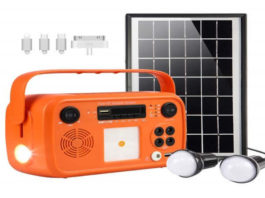 soyond Portable Solar Generator with Solar Panel Solar Powered Generator Kit with Flashlights Bluetooth, MP3 Player, FM Radio for Home Emergency Backup Power Camping Outage (Orange Retro Style)