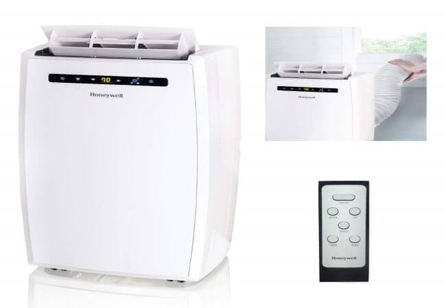 Honeywell MN10CESWW 10000 BTU Portable Conditioner, Dehumidifier & Fan for Rooms Up To 350-450 Sq. Ft. with Thermal Overload Protection, Washable Air Filter & Remote Control, White