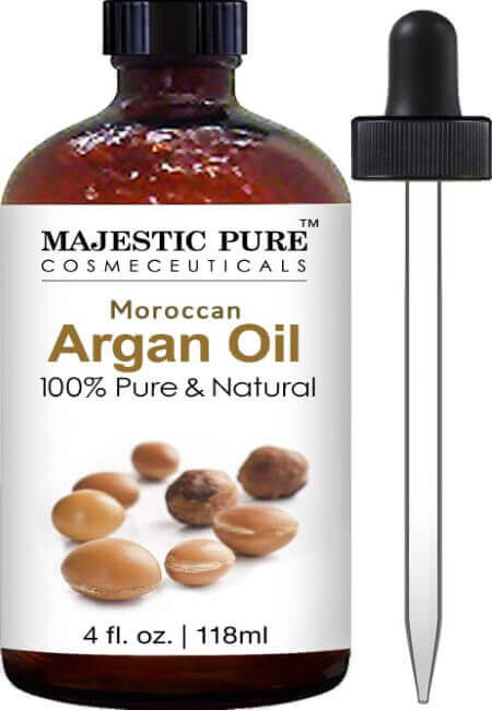 Majestic Pure Moroccan Argan Oil for Hair, Face, Nails, Beard & Cuticles - for Men and Women - 100% Pure & Natural, 4 fl. oz.