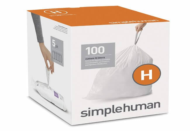 simplehuman Code H Custom Fit Drawstring Trash Bags, 30 - 35 Liter 8 - 9 Gallon, 100-Count Box