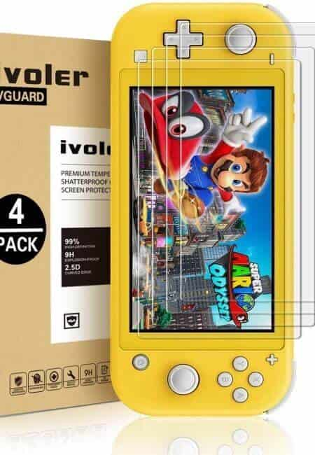 [4 Pack] Screen Protector Tempered Glass for Nintendo Switch Lite, iVoler Transparent HD,High Definition,Clear Anti-Scratch with Anti-Fingerprint Bubble-Free Fit Switch Lite 2