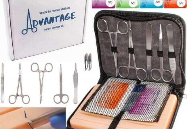 Advantage Suture Practice Kit, for Medical Students, Skin-Like Suture Pad, Complete Suture Kit with Carrying Case, Extra Sutures, Stainless Steel Instruments, Reusable Pad, Training Set