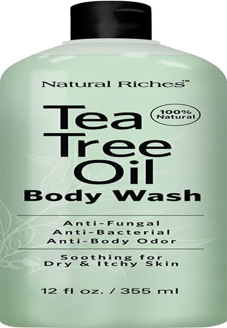 Antifungal TeaTree Oil Body Wash, Peppermint & Eucalyptus Oil Antibacterial Soap by Natural Riches -12 oz Helps Athletes Foot, Eczema, Ringworm, Toenail Fungus