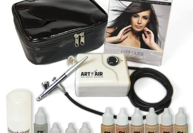 Art of Air Professional Airbrush Cosmetic Makeup System Fair to Medium Shades 6pc Foundation Set with Blush, Bronzer, Shimmer and Primer Makeup Airbrush Kit