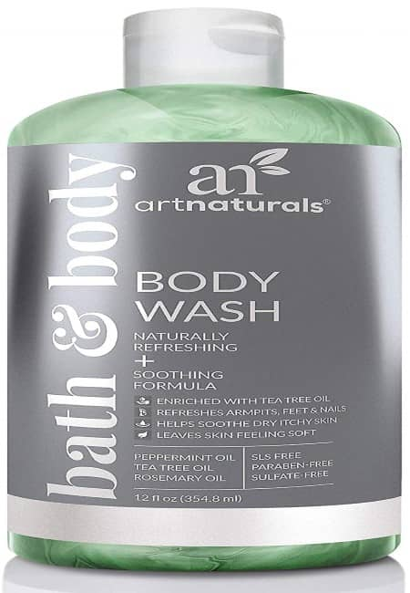 ArtNaturals Tea Tree Body and Foot Wash - (12 Fl Oz 355ml) - Peppermint and Eucalyptus Oil - Natural Anti-Bacterial Soap