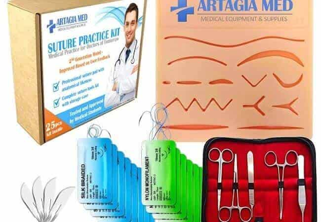 Complete Suture Practice Kit for Suture Training, Including Large Silicone Suture Pad with pre-Cut Wounds and Suture Tool kit (25 Pieces). 2nd Generation Model. (Demonstration and Education Use On