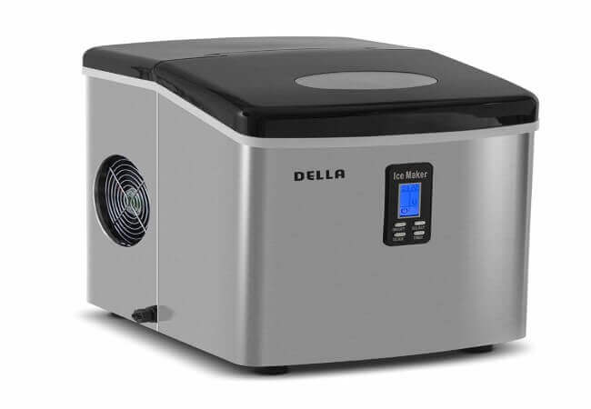 Della Portable Ice Maker 28 lb. Daily with Timer - Countertop Compact Design - 3 Size Bullet Shaped Ice - LCD Display
