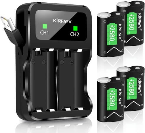 KINFAYV Xbox One Battery Pack 4 x 2580mAh Rechargeable Controller Battery and Charger Compatible with Xbox One,Xbox One S,Xbox One X,Xbox One Elite Wireless Controller