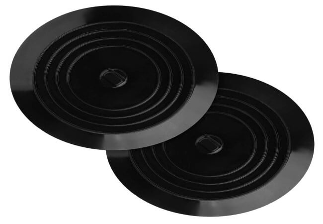 Kirecoo 2 Pack Bathtub Stopper, 6 Inches Large Silicone Tub Stopper, Flat Suction Drain Covers, Bath Plug for Tub, Kitchens, Bathrooms and Laundry(Black)