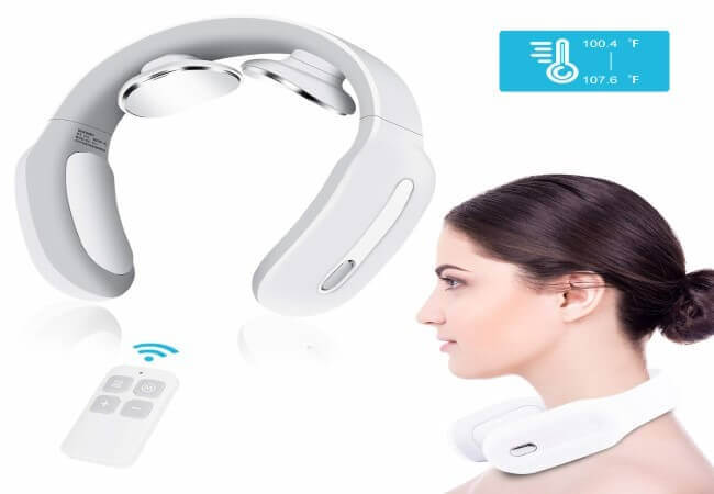 Neck Massager with Heat, 4D Wireless Intelligent Trigger Point Deep Tissue Massage Birthday Gifts for Women Men Dad Mom