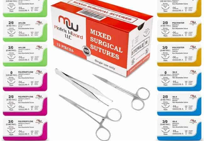 New Mixed Sterile Suture Threads with Needle + Training Accessories (Assorted 12 Pack with 3 Tools) for Suture Pads, Practice Suture Kit Medical, Nursing, Dental, EMT, Medic and Veterinary Student