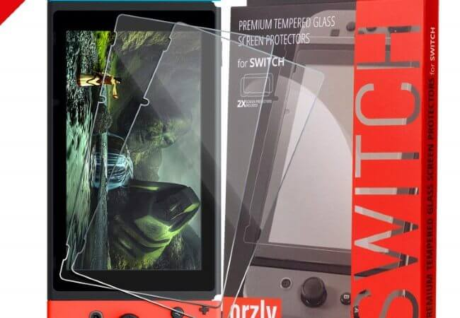 Orzly Glass Screen Protectors compatible with Nintendo Switch - Premium Tempered Glass Screen Protector TWIN PACK [2x Screen Guards - 0.24mm]