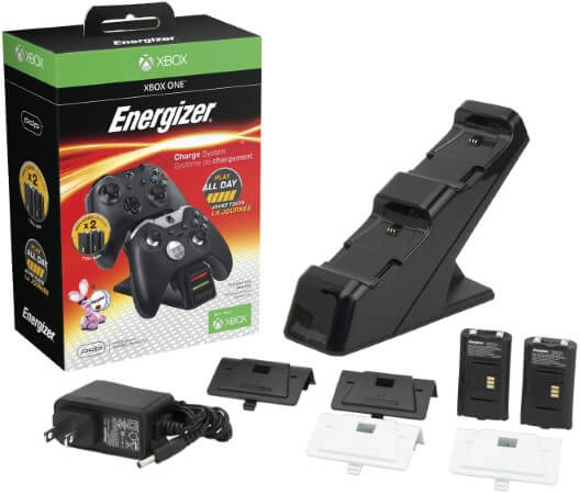 PDP PL-0018 Energizer Xbox One Controller Charger with Rechargeable Battery Pack for Two Wireless Controllers Charging Station Black