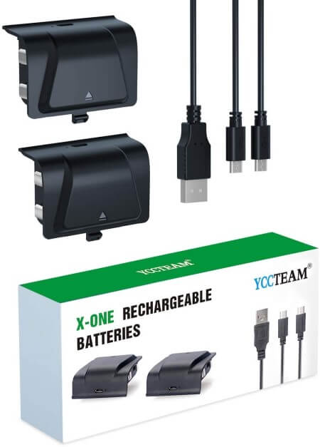 Xbox One Battery Pack Rechargeable, YCCTEAM Xbox One Controller Charger with 2pcs 1200 mAh Rechargeable Batteries for Offical Xbox One